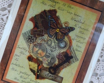 COLLAGE POETRY 5X7 frameable GREeTING CARDS art therapy collage inspirational hope trauma recovery abuse survivors