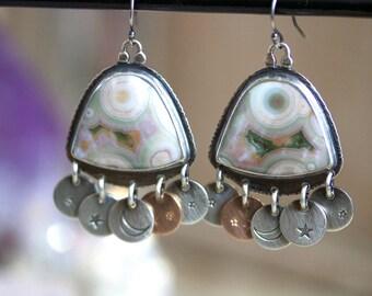 Ocean Jasper Drusy Earrings, Sterling Silver Chandelier Earrings, Rose Gold Drop Earrings... Kismet... Sequins Edition...