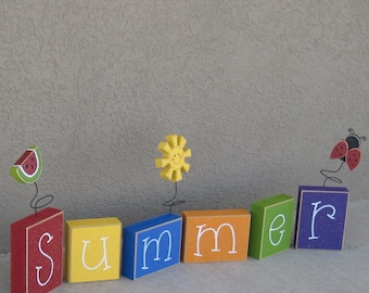 SUMMER BLOCK SET for shelf, mantle, office, seasons, home, and holiday decor.