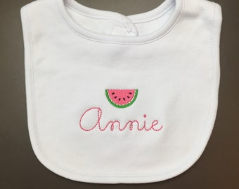 Bib with Floss Stitch Name and Watermelon Slice