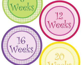 Weekly Milestone Pregnancy Bump Stickers - Gingham Theme - Perfect Gift For Expectant Moms Tracking Their Baby Bump