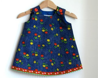 Tulips A-line infant dress - size 3- 6 months - made with vintage fabric