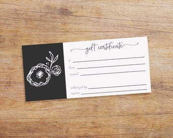 Gift Certificate Printable for your Small Business - Gift Certificate Download - Black and White with Flower