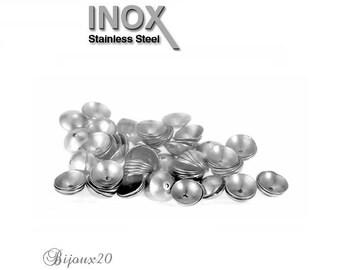 100 bead caps 5mm round stainless steel caps Cap M00729