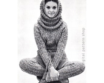 Knitting Pattern Hooded Cowl, Sweater & Stockings Pattern Knit Raglan Sleeve Jumper Top Leggings Instant Download Womens Size 12 to 18 - K07