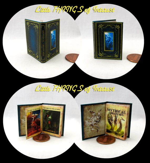 MYTHICAL CREATURES Textbook in 1:6 Scale Illustrated Readable Spell Book Magic Wizard Witch Potter Gryphon Dragon Unicorn Centaur Cyclopes