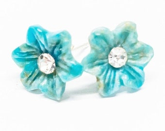 25% OFF Apatite Gemstone . 11mm Carved Flowers . Sterling Silver Posts Studs Earrings . Aqua Blue . Free Shipping . E18036