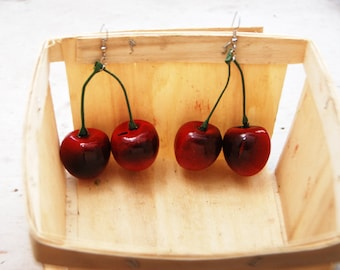 Double Red Cherry Earrings on Green Stem // Adorable Quirky Gift for Her // Birthday Holiday Party // Statement Piece // Fashion
