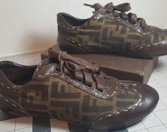 Brown canvas Fendi sneakers size 6