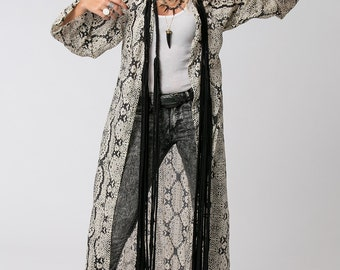 Snake Print Kimono Jacket, Boho Kimono, Bohemian Kimono, Long Kimono, Beach Cover Up, Boho Fashion