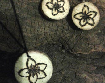 Driftwood and flowers jewelry set