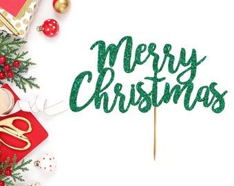 Merry Christmas Cake Topper - Christmas Cake Topper - Merry Christmas - Christmas Party Supplies - Merry Xmas - Cake Topper -Christmas Decor
