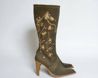 Vintage 90's Brown Denim Embroidered Western Style boots with Side Zippers
