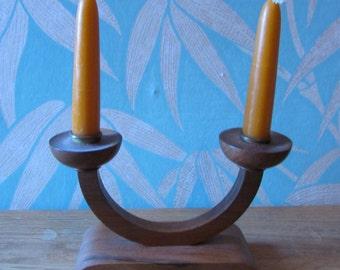 Vintage Mod-era-style wooden double candleholder
