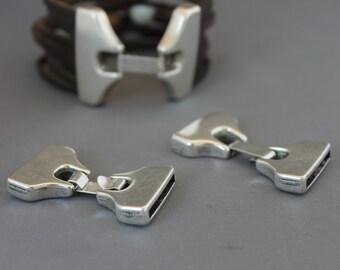 3 Zamak Clasps 42 x 23mm/ Antique silver / inn 19 x2 mm/ Leather clasp fastener