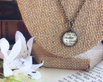 resist necklace - dictionary necklace  - upcycled jewelry - resist pendant - anti trump - feminist jewelry - womens rights resist jewelry