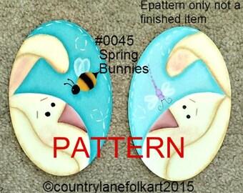painting epattern, Spring Bunnies, easter painting patterns, spring pattern, tole painting pattern, primitive patterns, best selling items