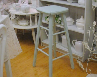 Vintage Kitchen Stool French Blue Shabby Chic Distressed