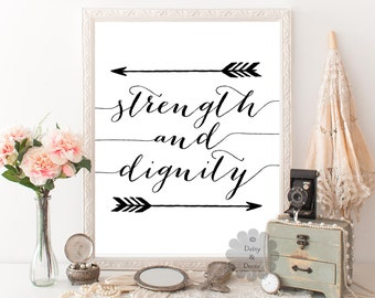 strength and dignity Proverbs 31:25 Bible verse Scripture print typography poster art print wall decor office print modern art wall