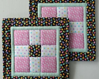 Easter Potholders, Easter Hot Pads, Quilted Potholders, Quilted Hot Pads, Easter Trivets, Set of 2