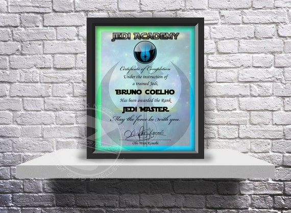 Jedi Academy custom graduation certificate choose size and inserts