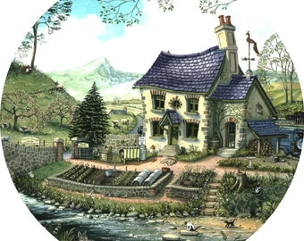 Gardeners Cottage signed print by Mark Denman
