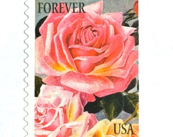 10 UNused Pink Rose Forever Postage Stamps // Vintage Botanical Print Stamps // For Mailing Wedding Invitations; Save the Dates; Cards