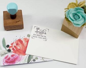 Art Deco Wedding Return Address Stamp, Wedding Rubber Stamp, Script Custom Address, Robins Egg Stamp, Painted Wooden Handle, Housewarming