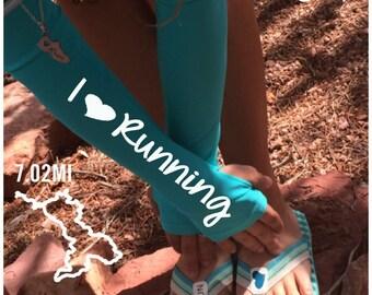 Arm warmer for running - i love running-  arm warmer, running gift, running gear, gift for runners, running sleeve