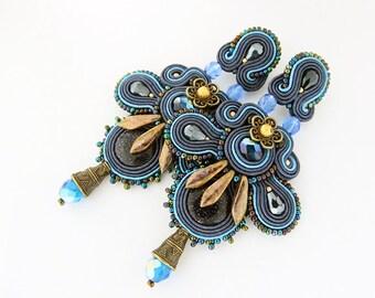 Blue statement earrings, blue chandelier earrings, soutache jewelry