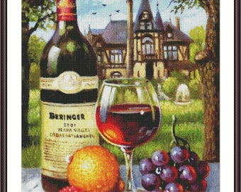 Still Life Cross Stitch Pattern | Counted Cross Stitch Chart | Kitchen Cross Stitch Design | Large Cross Stitch Chart | Fruits and Wine