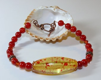 Yellow & Orange/Red Resin Oval Center Handmade Bracelet with Swarovski and Copper Accents with Copper Toggle