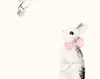 Girl Nursery Decor - 8x10 / A4 Art Print of Bunny Rabbit with Light Pink Bow-tie and Hummingbird - Shabby Chic Watercolour Decor