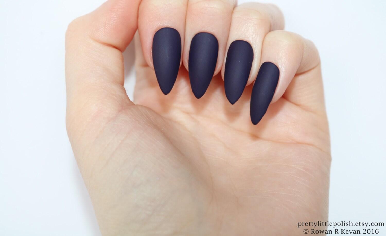 Stiletto nails Matte dark purple stiletto nails Fake nails