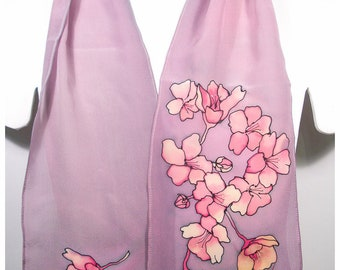 """SALE. Mother's Day Gift~Cherry blossom Scarf~8x52""""~Painted silk scarves~Handpainted silk scarf~Hand-painted silk scarves~Painted silk scarf"""