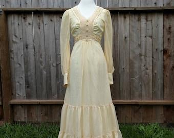 Gunne Sax style, prairie, boho dress, Jody of California, renaissance fair, Victorian, vintage wedding, 70s, size 5, gauze, Spring, bridal