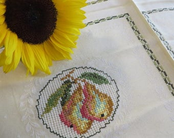 "Tablecloth Small Sq Decorative Topper Cloth Cross Stitched Fall Fruit Harvest  //  22 1/2"" by 24 1/2""  //  Like New Condition  //  Handmade"