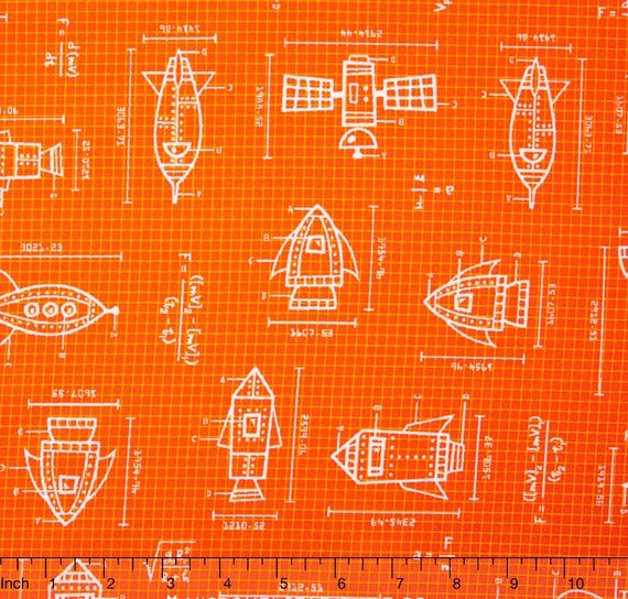 Spaceship fabric spaced out blueprint orange by robert kaufman 100 spaceship fabric spaced out blueprint orange by robert kaufman 100 cotton fabric by the yard 36x43 rk74 malvernweather Image collections