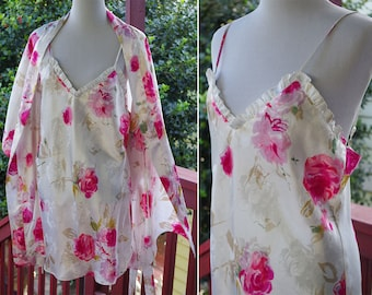 ROSES 1980's 90's Vintage Cream White + Hot Pink Satin Robe + Nightgown Peignoir Set // by Morgan Taylor // size Medium Large