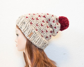 Knit Chunky Fair Isle Pom Pom Slouchy Hat / Copper Mountain / Oatmeal and Cranberry / READY TO SHIP