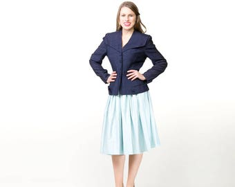 50s Navy Rayon Shantung Fitted Blazer Jacket S M