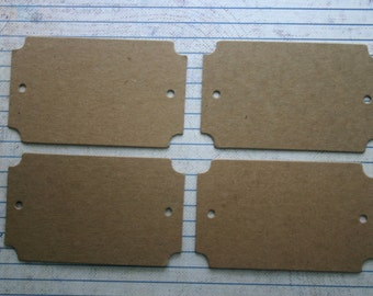 4 bare chipboard die cuts nameplate tags 2 holes 3 1/2 inches x 2 1/8 inches