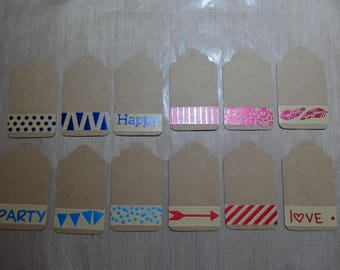 Embellished with foiled masking tape kraft Tags-Kraft / set of 12 / kraft label decorated with masking tape set of 12