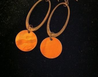 1980's Copper Oval Earrings