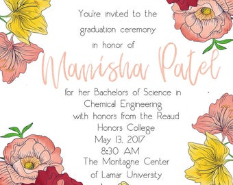 Cute Floral Graduation Invitation