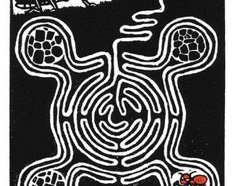 The Ant and the Grasshopper - original linoleum block print