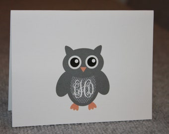 12 Personalized Notecards - Owl - initials