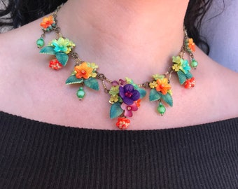 STUNNING MULTI COLOR Necklace, Hand beaded by Designer Colleen Toland
