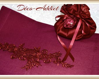 Stunning Burgundy cotton table runner and his carmine red guipure