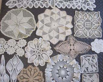 Lot 14 Mixed Crochet Lace Cotton Doilies Vintage Scarf Circle Fruit White Ecru